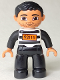 Minifig No: 47394pb168  Name: Duplo Figure Lego Ville, Male, Black Legs, Black and White Striped Top with Number 92116, Black Hair (Prisoner)