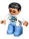 Minifig No: 47394pb171  Name: Duplo Figure Lego Ville, Male Medic, Medium Blue Legs, White Lab Coat, Stethoscope, Glasses, Black Hair