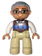 Minifig No: 47394pb174  Name: Duplo Figure Lego Ville, Male, Tan Legs, Reddish Brown Argyle Sweater Vest, White Arms, Light Bluish Gray Hair, Glasses