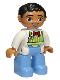 Minifig No: 47394pb182  Name: Duplo Figure Lego Ville, Male, Medium Blue Legs, Lime Striped Apron, Red Bow Tie, Black Hair
