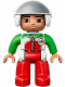 Minifig No: 47394pb183  Name: Duplo Figure Lego Ville, Male, Red Legs, Race Top with Zipper and Octan Logo, White Helmet