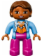 Minifig No: 47394pb190  Name: Duplo Figure Lego Ville, Female, Magenta Legs, Medium Blue Top with Necklace, Dark Orange Hair