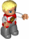 Minifig No: 47394pb196  Name: Duplo Figure Lego Ville, Male Castle, Dark Bluish Gray Legs, Red and White Chest with Lion on Shield, Bright Light Yellow Hair, Blue Eyes