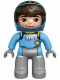 Minifig No: 47394pb198  Name: Duplo Figure Lego Ville, Miles with Helmet