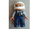 Minifig No: 47394pb205  Name: Duplo Figure Lego Ville, Male Police, Dark Blue Legs, Black Top with Badge, Light Bluish Gray Arms, White Helmet