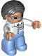 Minifig No: 47394pb206  Name: Duplo Figure Lego Ville, Female, Medium Blue Legs, White Top with Pocket, White Arms, Blue Glasses, Black Hair