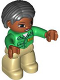 Minifig No: 47394pb209  Name: Duplo Figure Lego Ville, Female, Tan Legs, Green Top with 'ZOO' on Front, Brown Head, Black Hair, Brown Eyes