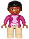 Minifig No: 47394pb214  Name: Duplo Figure Lego Ville, Female, Tan Legs, Magneta Jacket and Pink Blouse Pattern, Black Hair, Brown Eyes