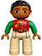 Minifig No: 47394pb216  Name: Duplo Figure Lego Ville, Male, Tan Legs, Red Shirt, Black Hair, Bright Green Arms (10804)