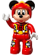 Minifig No: 47394pb232  Name: Duplo Figure Lego Ville, Mickey Mouse, Red Race Driver Jumpsuit, Helmet