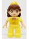Minifig No: 47394pb239  Name: Duplo Figure Lego Ville, Belle, Reddish Brown Hair, Bright Light Yellow Tiara