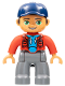 Minifig No: 47394pb245  Name: Duplo Figure Lego Ville, Male, Dark Bluish Gray Legs, Red Jacket, Medium Azure Shirt, Dark Blue Cap