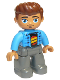 Minifig No: 47394pb246  Name: Duplo Figure Lego Ville, Male, Dark Bluish Gray Legs, Dark Azure Jacket, Black Shirt, Reddish Brown Hair