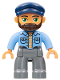 Minifig No: 47394pb250  Name: Duplo Figure Lego Ville, Male, Dark Bluish Gray Legs, Medium Blue Shirt, Dark Blue Cap, Beard