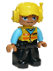 Minifig No: 47394pb253  Name: Duplo Figure Lego Ville, Male, Black Legs, Medium Azure Blue Shirt, Yellow Safety Vest with Train Logo and Yellow Cap with Headset