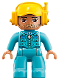 Minifig No: 47394pb260  Name: Duplo Figure Lego Ville, Male, Medium Azure Legs, Medium Azure Jacket with Zipper and Pockets, Yellow Cap with Headset