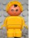 Minifig No: 4943pb002  Name: Duplo Figure, Child Type 1 Baby, Yellow Legs, Yellow Body, Yellow Bonnet