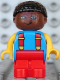 Minifig No: 4943pb005  Name: Duplo Figure, Child Type 1 Boy, Red Legs, Blue Torso with 2 Straps, Yellow Arms, Brown Head with Black Curly Hair
