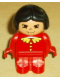 Minifig No: 4943pb007  Name: Duplo Figure, Child Type 1 Girl, Red Legs, Red Top with Lace Collar & Buttons, Black Hair, Asian Eyes