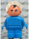 Minifig No: 4943pb012  Name: Duplo Figure, Child Type 1 Baby, Blue Legs, Blue Body, White Bonnet