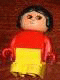 Minifig No: 4943pb015  Name: Duplo Figure, Child Type 1 Girl, Yellow Legs, Red Top, Black Hair