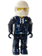Minifig No: 4j002  Name: Police - Black Legs, Black Jacket, White Helmet, Yellow Head