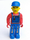 Minifig No: 4j006  Name: Tractor Driver With Blue Overalls, Red Shirt, Plain Blue Cap, Beard Stubble