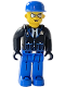 Minifig No: 4j008  Name: Police - Blue Legs, Black Jacket, Blue Cap, Sunglasses
