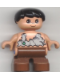 Minifig No: 6453pb001  Name: Duplo Figure, Child Type 2 Boy, Brown Legs, Black Hair (Caveman)