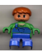 Minifig No: 6453pb003  Name: Duplo Figure, Child Type 2 Boy, Blue Legs, Green Top with Blue Overalls with one Strap