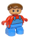 Minifig No: 6453pb005  Name: Duplo Figure, Child Type 2 Boy, Blue Legs, Red Top with Blue Overalls, Brown Hair