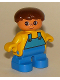 Minifig No: 6453pb006  Name: Duplo Figure, Child Type 2 Boy, Blue Legs, Yellow Top with Blue Overalls, Brown Hair