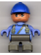 Minifig No: 6453pb023  Name: Duplo Figure, Child Type 2 Boy, Dark Gray Legs, Suspenders with Yellow Zipper, Blue Cap