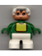 Minifig No: 6453pb024  Name: Duplo Figure, Child Type 2 Baby, White Legs, Green Top with Yellow Bib with Red Lace, White Bonnet