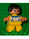 Minifig No: 6453pb030  Name: Duplo Figure, Child Type 2 Boy, Yellow Legs, Top with Geometric Pattern, Black Hair with Feather (American Indian)