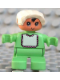 Minifig No: 6453pb032  Name: Duplo Figure, Child Type 2 Baby, Light Green Legs, Light Green Top with White Bib with Dark Pink Lace, White Bonnet