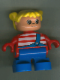 Minifig No: 6453pb033  Name: Duplo Figure, Child Type 2 Girl, Blue Legs, Red Top with White Stripes, Yellow Hair Pigtails