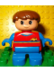 Minifig No: 6453pb040  Name: Duplo Figure, Child Type 2 Boy, Blue Legs, Red Top with Yellow and Blue Stripes and Yellow Car Logo, Blue Arms, Brown Hair