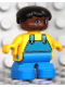 Minifig No: 6453pb048  Name: Duplo Figure, Child Type 2 Boy, Blue Legs, Yellow Top with Blue Overalls, Black Hair, Brown Head