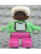 Minifig No: 6453pb050  Name: Duplo Figure, Child Type 2 Baby, Dark Pink Legs, Light Green Top with White Bib with Dark Pink Lace, White Bonnet