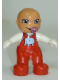 Minifig No: 85363pb001  Name: Duplo Figure Lego Ville, Baby, Red Overalls with Elephant Pattern, Pacifier