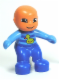 Minifig No: 85363pb002  Name: Duplo Figure Lego Ville, Baby, Blue and Medium Blue Romper with Stripes and Yellow Duck Pattern