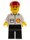 Minifig No: Shell008  Name: Shell - Jacket, Black Legs, Red Cap, Eyebrows
