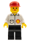 Minifig No: Shell009  Name: Shell - Jacket, Black Legs, Red Cap, Female