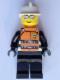 Minifig No: WC016s  Name: Fire - Reflective Stripes, Black Legs, White Fire Helmet, Silver Sunglasses, Orange Vest with Straps and Fire Logo and 'FIRE' Pattern (Stickers)