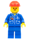 Minifig No: air008  Name: Airport - Blue, Blue Legs, Red Construction Helmet