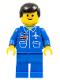 Minifig No: air009  Name: Airport - Blue, Blue Legs, Black Male Hair