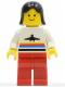 Minifig No: air011  Name: Airport - Classic, Red Legs, Black Female Hair