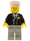 Minifig No: air014  Name: Airport - Pilot, Light Gray Legs, White Hat