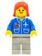 Minifig No: air016  Name: Airport - Blue, Light Gray Legs, Red Female Hair